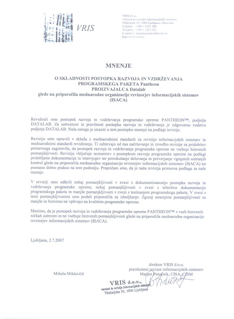 Usklađenost sa preporukama Međunarode organizacije revizora informacionih sistema (ISACA)